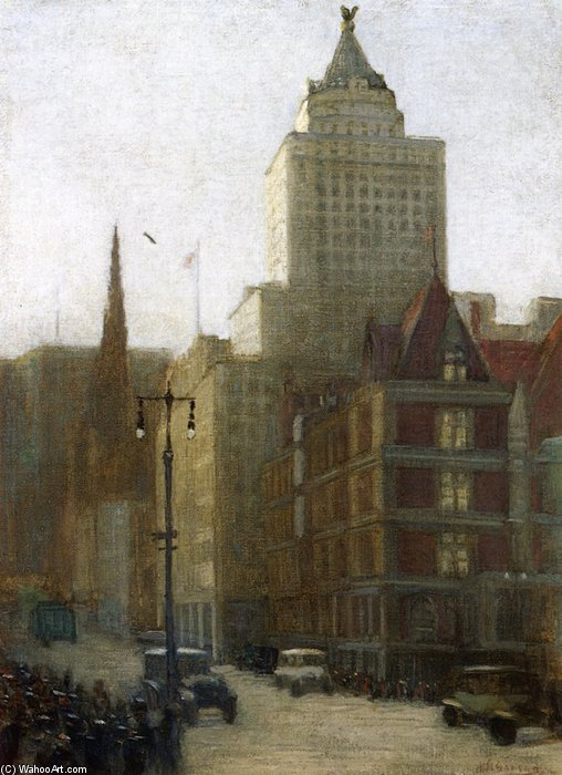 57th Street At Fifth Avenue by Aaron Harry Gorson (1872-1933, Lithuania) | Art Reproductions Aaron Harry Gorson | WahooArt.com