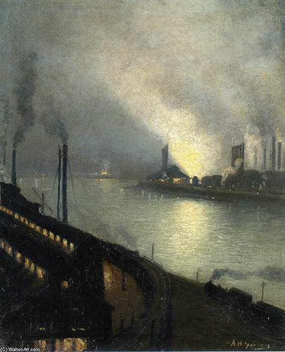 Factories At Night by Aaron Harry Gorson (1872-1933, Lithuania) | WahooArt.com