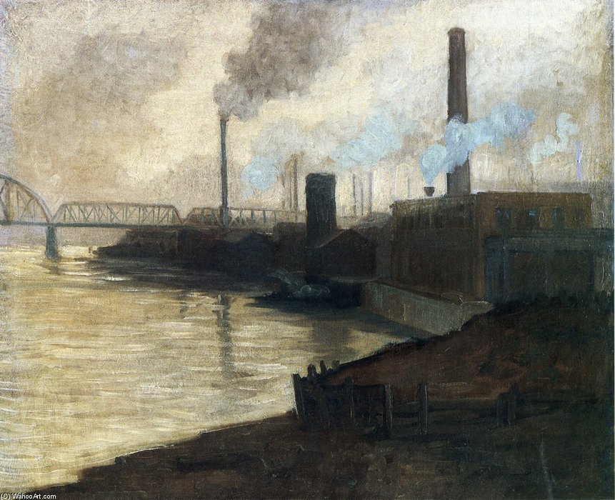 Industrial Scene - Mills On The Monongahela by Aaron Harry Gorson (1872-1933, Lithuania) | Art Reproductions Aaron Harry Gorson | WahooArt.com
