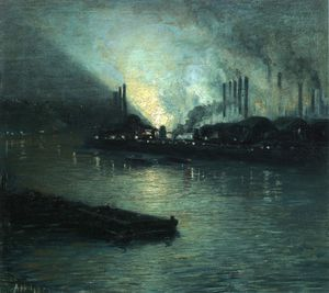 Order Museum Quality Reproductions : Pittsburgh Industrial Nocturne by Aaron Harry Gorson (1872-1933, Lithuania) | WahooArt.com