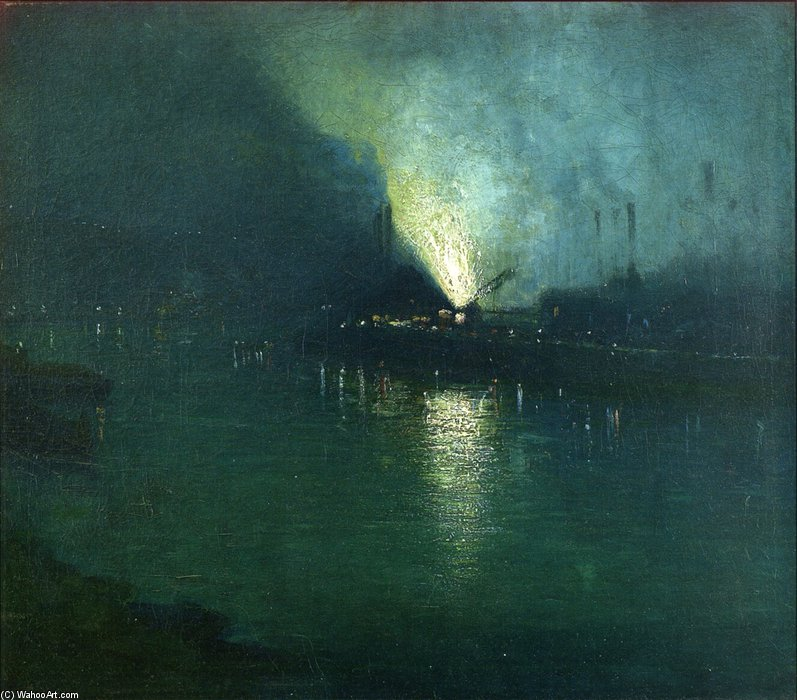Steel Mills - Nocturne, Pittsburgh by Aaron Harry Gorson (1872-1933, Lithuania) | Reproductions Aaron Harry Gorson | WahooArt.com