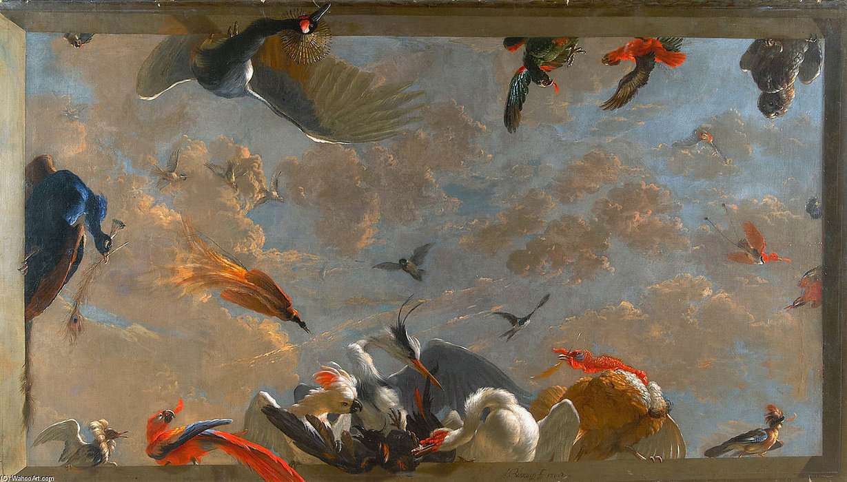 Ceiling Piece With Birds by Abraham Bisschop (1670-1729, Netherlands) | Reproductions Abraham Bisschop | WahooArt.com