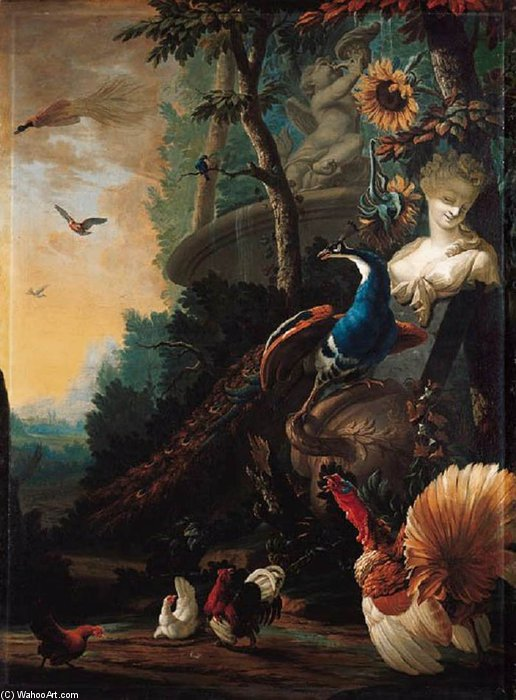 Peacock On A Fallen Vase by Abraham Bisschop (1670-1729, Netherlands)