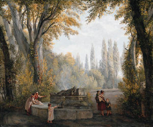 Abraham-Louis-Rodolphe Ducros - A Park Landscape With Women And Children Beside A Fountain