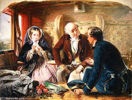 First Class - by Abraham Solomon (1823-1862, United Kingdom)
