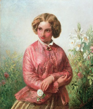 Portrait Of A Young Girl With A Rose by Abraham Solomon (1823-1862, United Kingdom) | Painting Copy | WahooArt.com