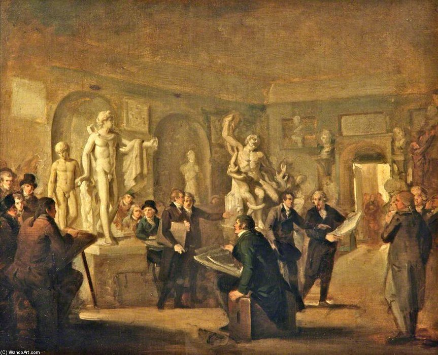 The Sculpture Gallery Of The Felix Meritis Society, Amsterdam by Adriaan De Lelie  (order Fine Art hand made painting Adriaan De Lelie)