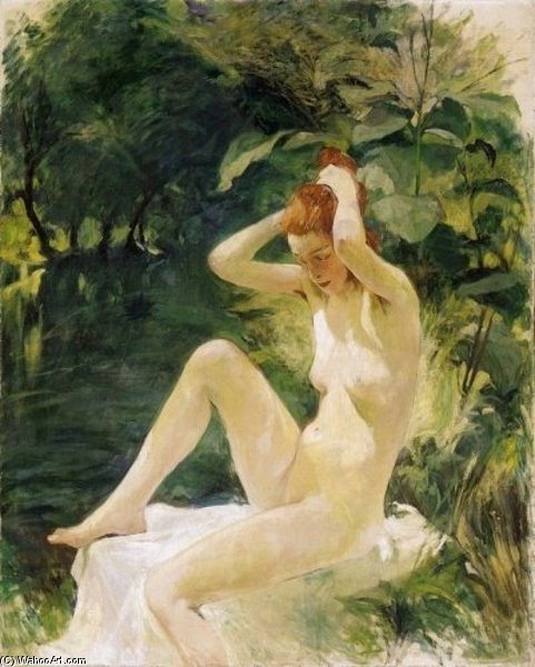 Order Oil Painting : After Bath by Agost Benkhard (1882-1961, Hungary) | WahooArt.com