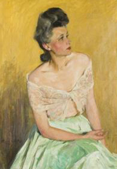 Christmas Portrait Of Margaret by Agost Benkhard (1882-1961, Hungary)