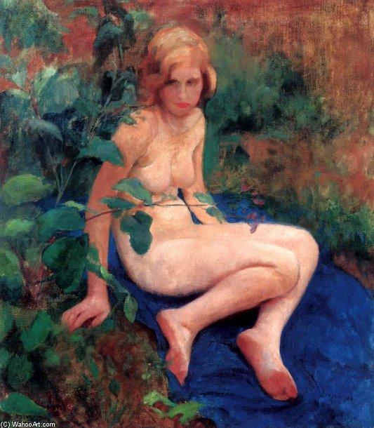 Nude Girl by Agost Benkhard (1882-1961, Hungary) | Art Reproduction | WahooArt.com