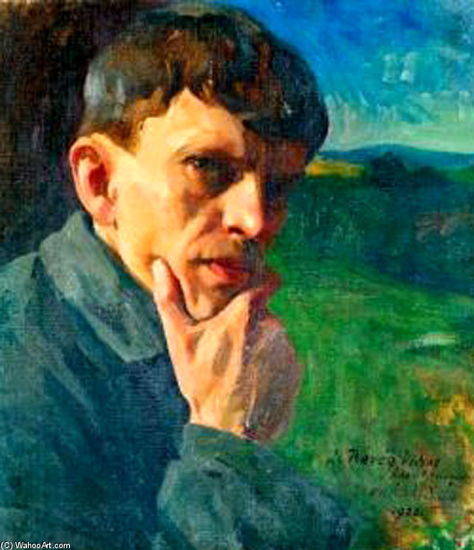Self-portrait by Agost Benkhard (1882-1961, Hungary) | Museum Quality Reproductions | WahooArt.com