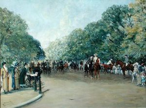 Albert Junior Ludovici - View Of Hyde Park With Figures On Rotten Row