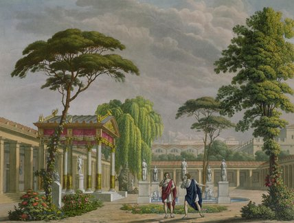 Gardens Of The House Of Diomede At Pompeii by Alessandro Sanquirico (1777-1849, Italy)
