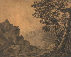 Alexander Cozens - A Road In A Mountain Landscape With Trees To The Right