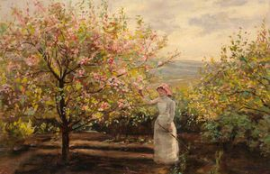 Alexander Ignatius Roche - Spring Landscape With A Woman Picking Blossom