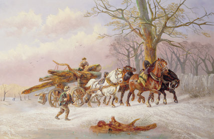 Logging In The Snow by Alexis De Leeuw (1848-1883, Belgium) | Museum Quality Reproductions | WahooArt.com