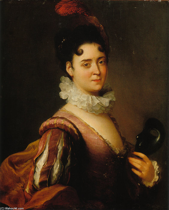 Portrait D`une Comedienne by Alexis Grimou (1678-1733, France) | Art Reproduction | WahooArt.com