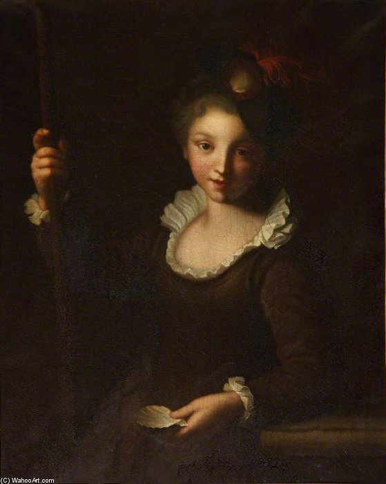Young Pilgrim Girl, 1725 by Alexis Grimou (1678-1733, France) | Famous Paintings Reproductions | WahooArt.com