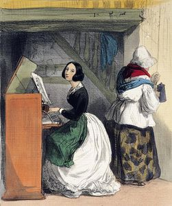 Order Museum Quality Reproductions : A Music School Pupil by Alfred Andre Geniole (1813-1861) | WahooArt.com