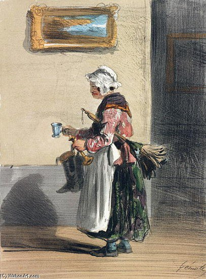 The Cleaning Lady by Alfred Andre Geniole (1813-1861)