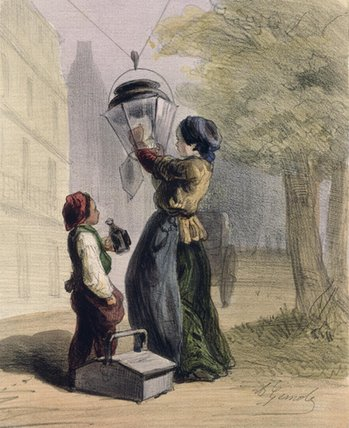 The Lamplighter by Alfred Andre Geniole (1813-1861) | Famous Paintings Reproductions | WahooArt.com