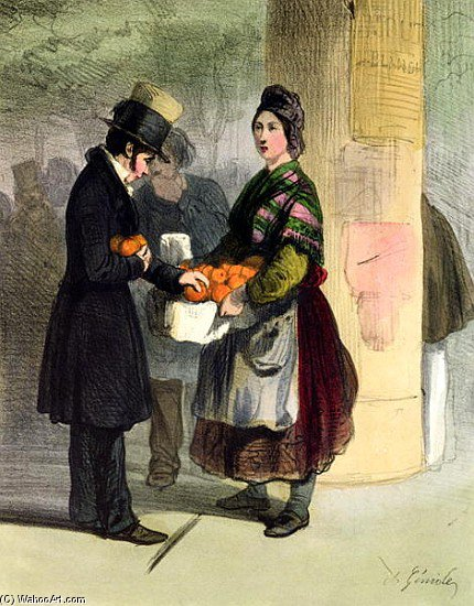 The Orange Seller by Alfred Andre Geniole (1813-1861)