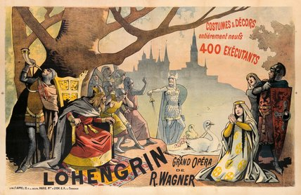 Poster Advertising Wagner`s `lohengrin` by Alfred Choubrac (1853-1902) | Art Reproduction | WahooArt.com