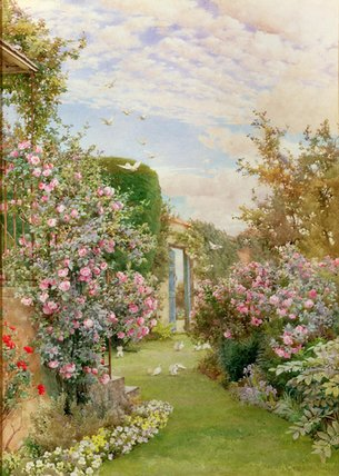 Order Art Reproductions | China Roses, Broadway by Alfred Parsons (1847-1920, Australia) | WahooArt.com