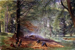 Alfred William Hunt - Charcoal Burners In Rokeby Park