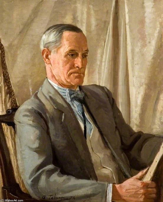 Portrait Of A Man Studying A Painting by Algernon Talmage (1871-1939, United Kingdom) | Museum Quality Copies Algernon Talmage | WahooArt.com