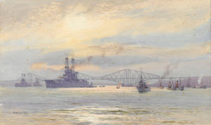 Alma Claude Burlton Cull - American Battleship In The Firth Of Forth