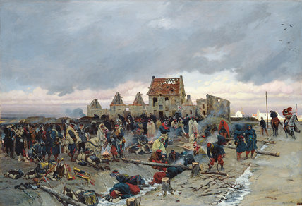 Bivouac At Le Bourget After The Battle by Alphonse Marie Adolphe De Neuville (1836-1885, France)