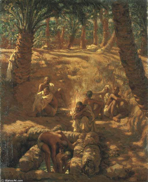 Berbers At An Oasis Well by Alphonse Etienne Dinet (Nasreddine Dinet) (1861-1929) | Paintings Reproductions Alphonse Etienne Dinet (Nasreddine Dinet) | WahooArt.com