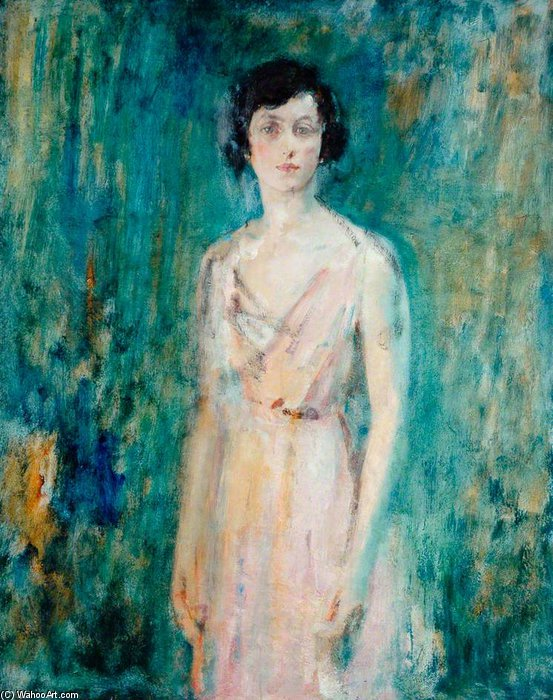 Lady In A Pink Dress by Ambrose Mcevoy (1878-1927, United Kingdom) | Art Reproductions Ambrose Mcevoy | WahooArt.com