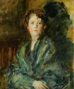 Order Paintings Reproductions | Miss Joan Claudia Johnson, In Green by Ambrose Mcevoy (1878-1927, United Kingdom) | WahooArt.com