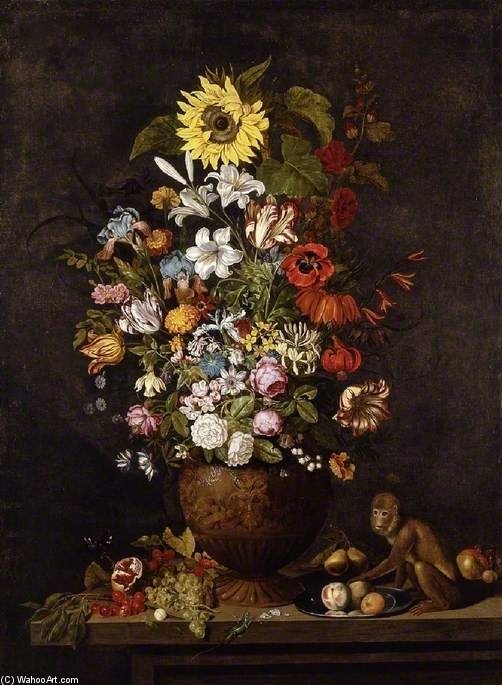 A Vase Of Flowers With A Monkey by Ambrosius Bosschaert The Younger (1609-1645, Netherlands) | Art Reproductions Ambrosius Bosschaert The Younger | WahooArt.com