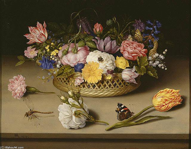 Still-life Of Flowers by Ambrosius Bosschaert The Younger (1609-1645, Netherlands) | Museum Art Reproductions Ambrosius Bosschaert The Younger | WahooArt.com