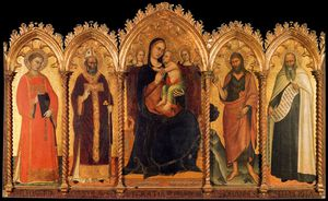 Andrea Di Bonaiuto (Andrea Da Firenze) - Madonna And Child With Saints