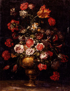Andrea Scacciati - Still Life Of Flowers In A Gilt Vase