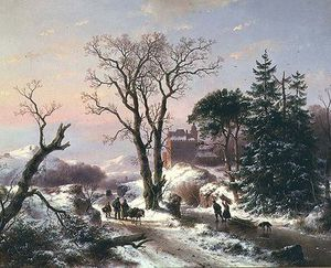 Andreas Schelfhout - A Wooded River Landscape With Peasants