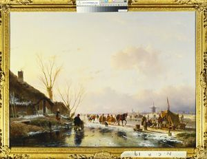 Andreas Schelfhout - Skaters By A Booth On A Frozen River,
