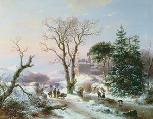 Andreas Schelfhout - Wooded Winter River Landscape,