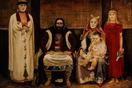 Order Art Reproductions | A Merchant And His Family In The Seventeenth by Andrei Petrovich Ryabushkin (1861-1904, Russia) | WahooArt.com