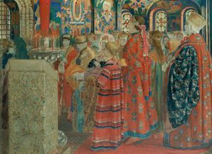 Andrei Petrovich Ryabushkin - Seventeenth Century Russian Women At Church