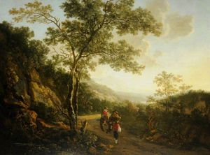 Andries Both - Landscape With Figures, Evening