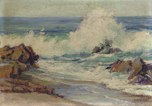 Order Painting Copy : Dashing Waves, Laguna Beach by Anna Althea Hills (1882-1930, United States) | WahooArt.com