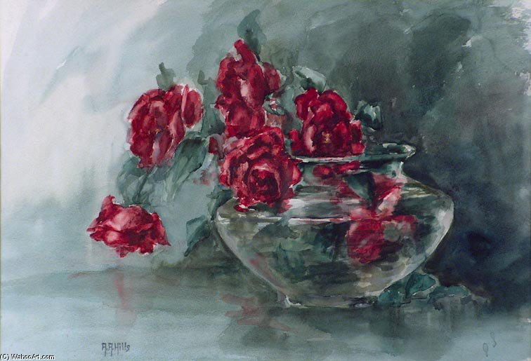 Red Roses by Anna Althea Hills (1882-1930, United States) | Painting Copy | WahooArt.com