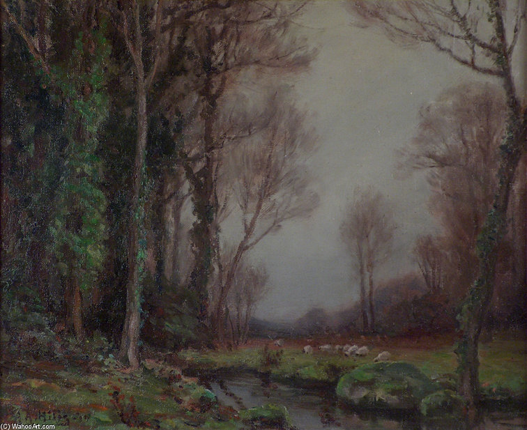 Wooded Stream And Sheep by Anna Althea Hills (1882-1930, United States) | Painting Copy | WahooArt.com