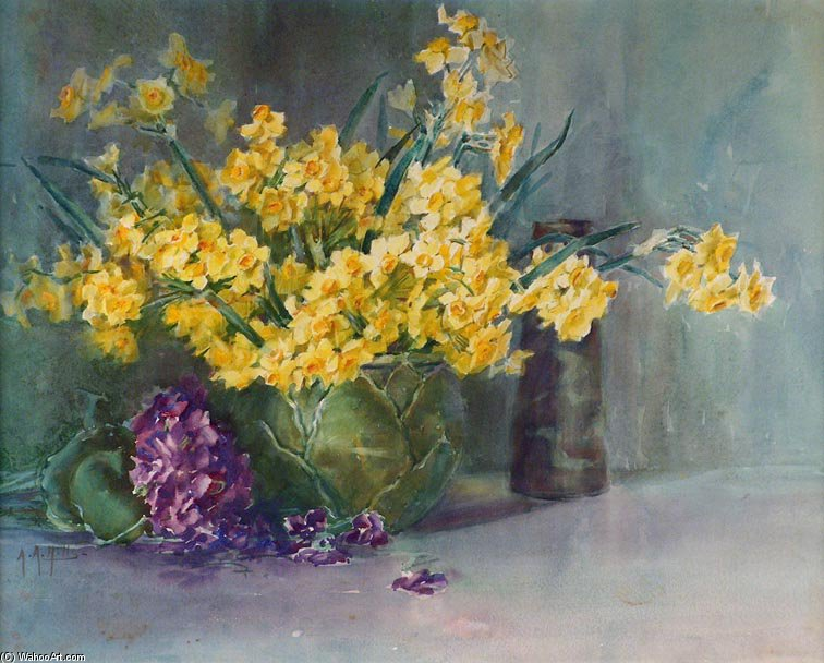 Yellow Daffodils by Anna Althea Hills (1882-1930, United States) | Museum Quality Reproductions | WahooArt.com