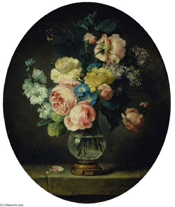A Vase Of Flowers by Anne Vallayer Coster (1744-1818, France) | Art Reproductions Anne Vallayer Coster | WahooArt.com